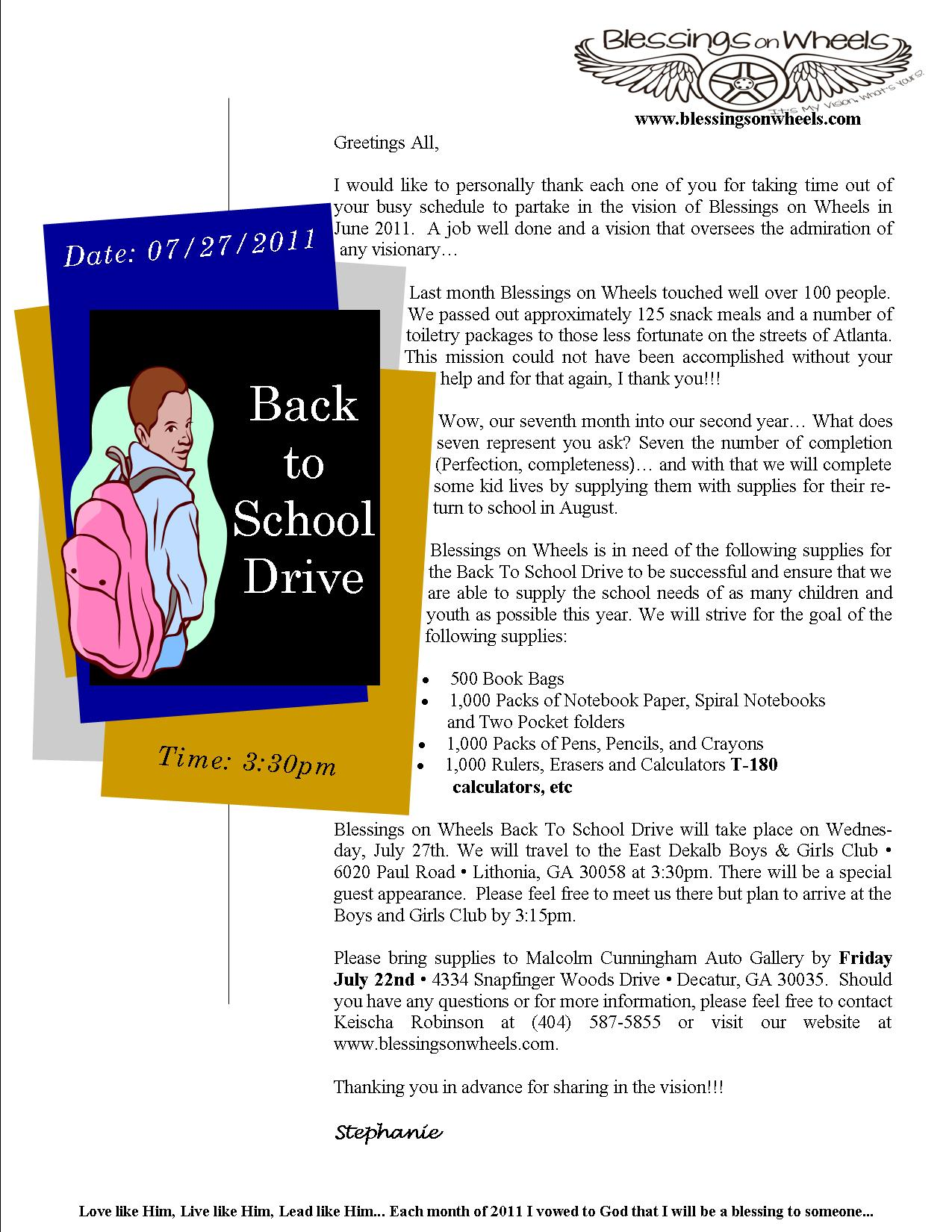 Blessings On Wheels Back To School Drive July 27th 2011